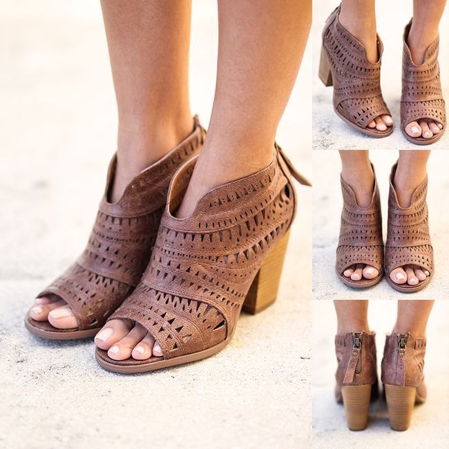 SO FAB! Our NEW cut out booties are too pretty! Make sure you get yourself a pair! They are perf for the upcoming spring season! Shop at savedbythedress.com