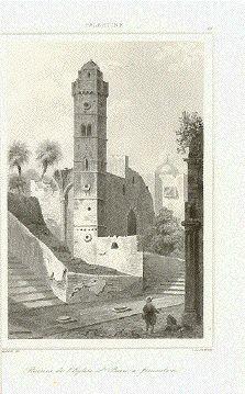 """Ruines de l'Eglise St. Pierre a Jerusalem""  Steel engraving ca 1850."