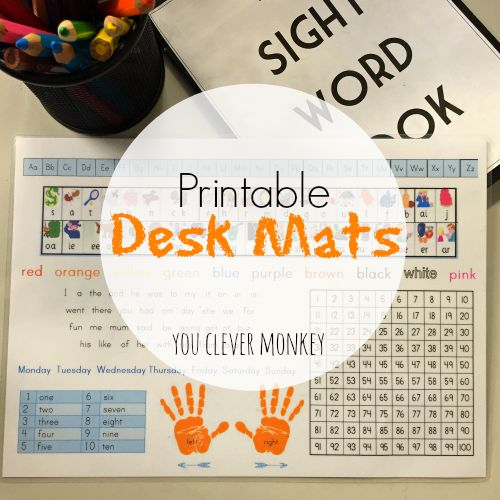 Printable Desk Mat - helpful letter, sound and numeracy prompts for young readers and writers | you clever monkey