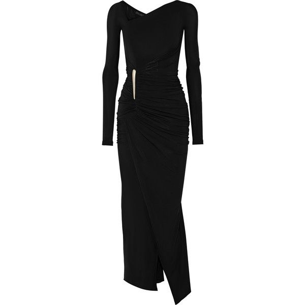 Donna Karan New York Asymmetric ruched stretch-jersey gown (4,505 CAD) ❤ liked on Polyvore featuring dresses, gowns, black, stretch jersey, donna karan evening gowns, shirred dress, asymmetrical neckline dress and donna karan gowns