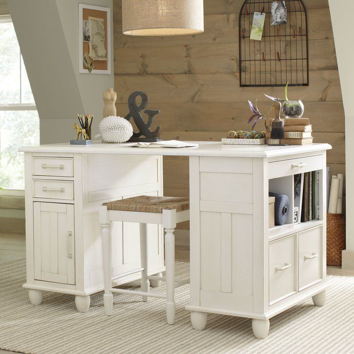 perfect as a craft station or kitchen island this versatile desk features a distressed white. Interior Design Ideas. Home Design Ideas