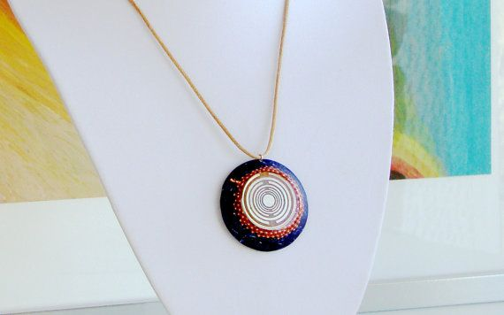 Orgone orgonite® powerful blue pendant with 2 by OrgoniteCreations
