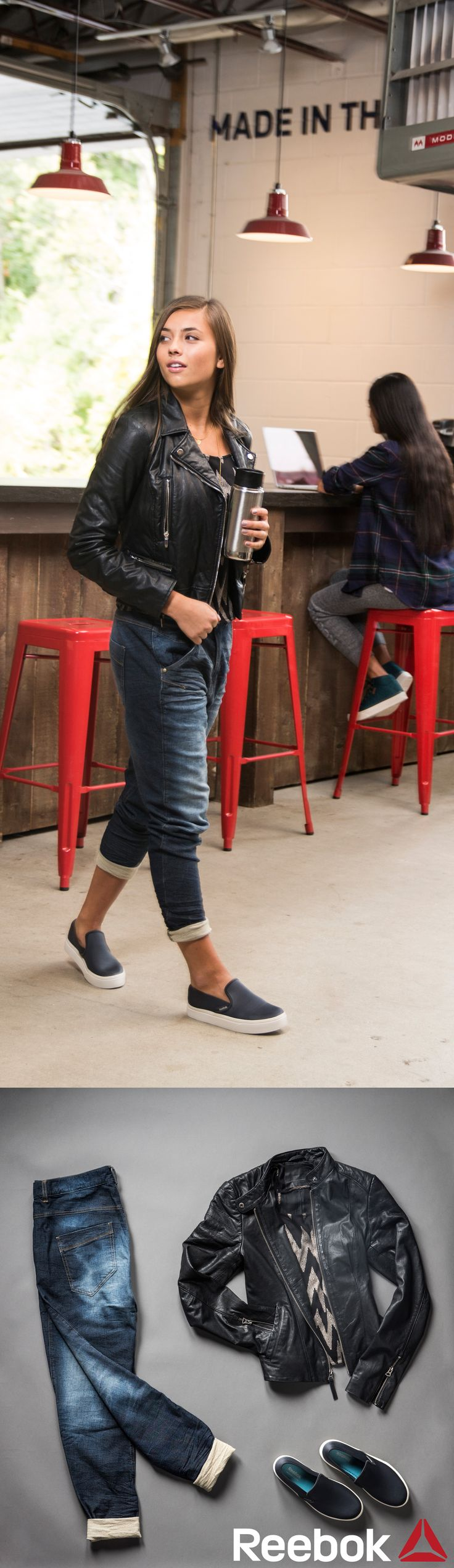 Stay comfortable on Casual Friday at the office in Reebok studio denim jogger pants. Pair these trendy pants with slip on Skyscape sneakers and a fitted leather jacket.