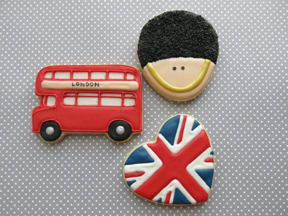 London Themed Sugar Cookies  1 Dozen by ParadiseSweets on Etsy