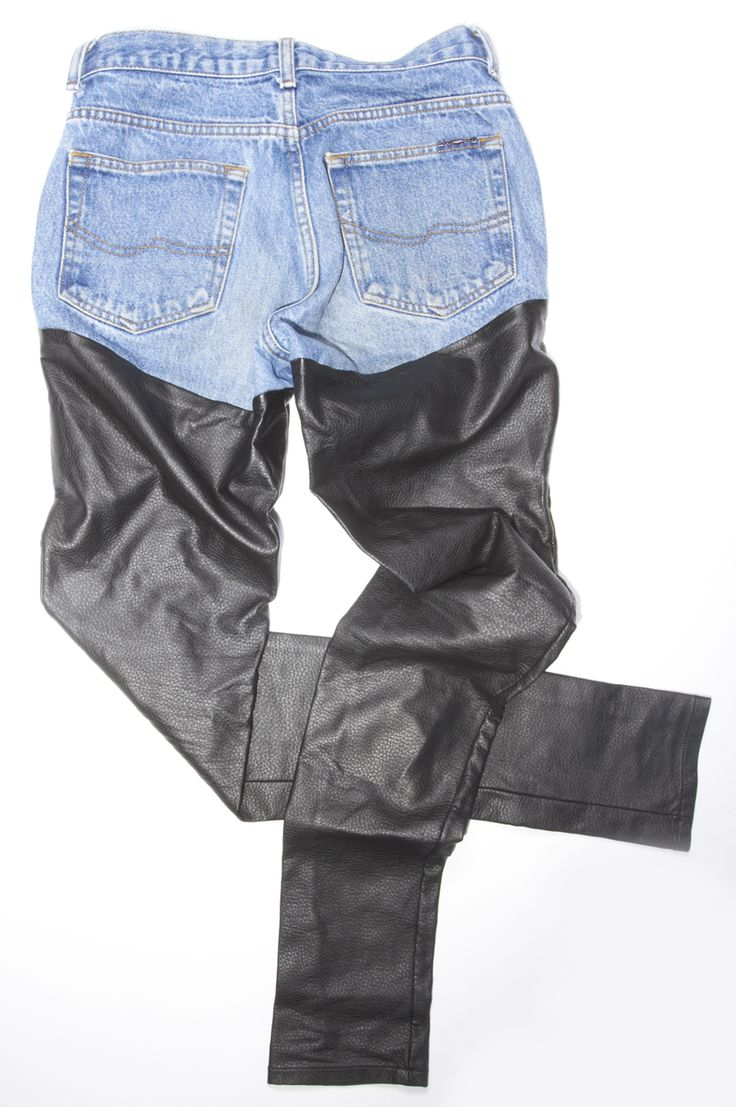 BAZZUL Custom Denim: high-waisted #jeans with #vegan leather detail