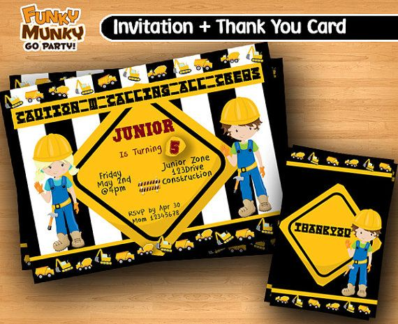 Construction Birthday Invitation  Birthday by funkymunkygoparty