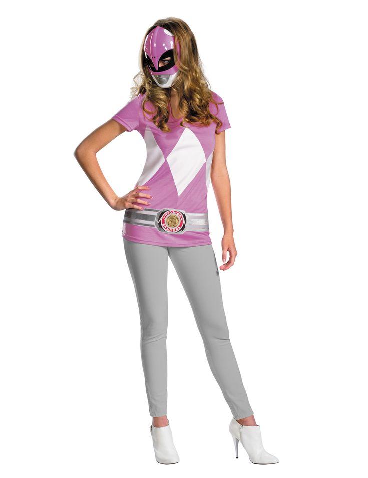 Disfraz de Power Rangers™ rosa para mujer: Este disfraz rosa para mujer tiene licencia oficial dePower Rangers™. Incluye una camiseta y una semi-máscara (pantalón y zapatos no incluidos).La camiseta es de color rosa...