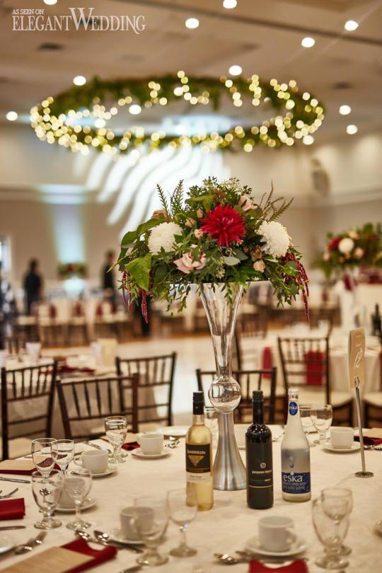 Greenery Wedding Centrepieces, Hanging Greenery Ideas, Fall Wedding Theme, Red Wedding Flowers #weddingcentrepiece #weddingflowers