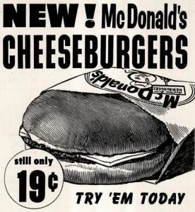 1960 McDonald's vintage ad  holy cow! 19 CENTS!!!