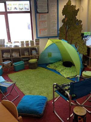 "Blog post about one teacher's camping-themed classroom. ""This photo shows my ""literacy Lake"" one of our meeting spots. I use the coolers as both a seat and storage for my mentor texts."""