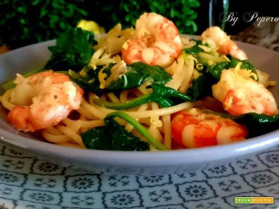 Vermicelli con gamberi e spinaci freschi  #ricette #food #recipes