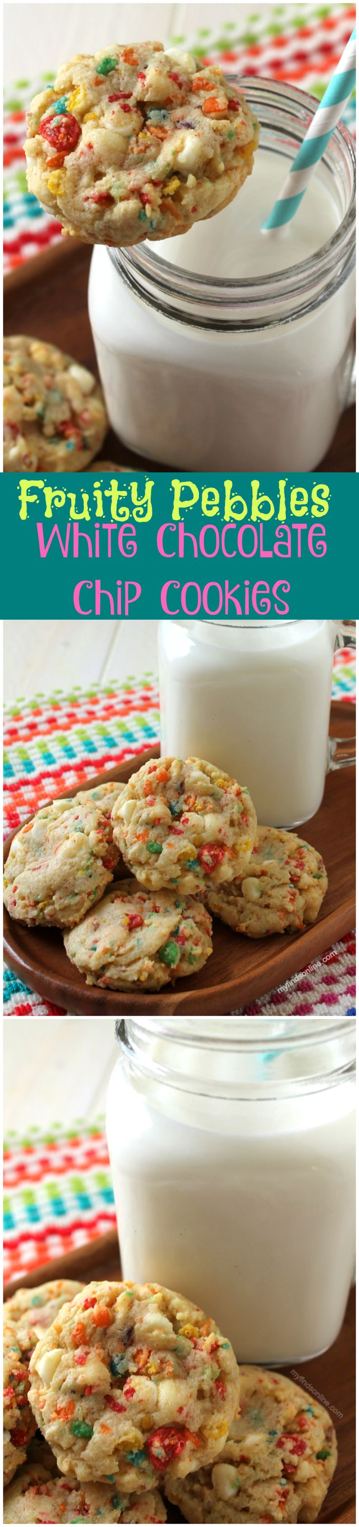 Fruity Pebbles White Chocolate Chip Cookies / myfindsonline.com