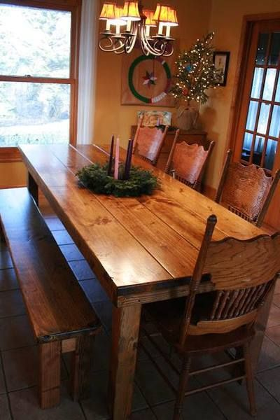 """James+James: Farmhouse Table 8' x 37"""" x 30"""" . Early American stain. Matching Farmhouse Bench"""