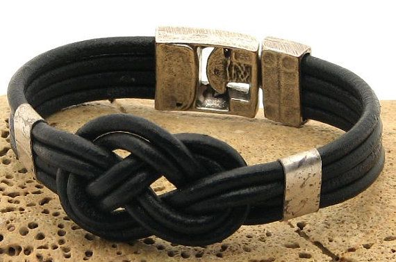 FREE SHIPPING. Unisex handmade knot marine, nautical, black leather bracelet with silver plated calsp and spacers.