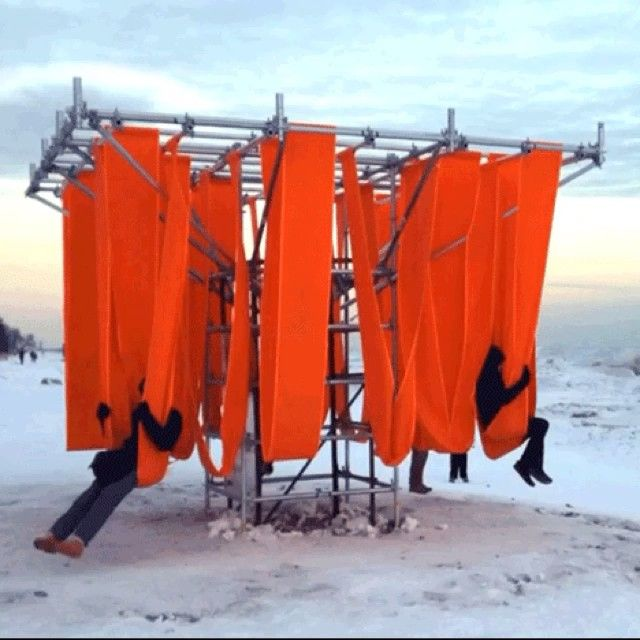 """Lifeguard outposts along Toronto's frozen waterfront have been converted into a series of winter pavilions, including a set of bright red swings. Find out…"""