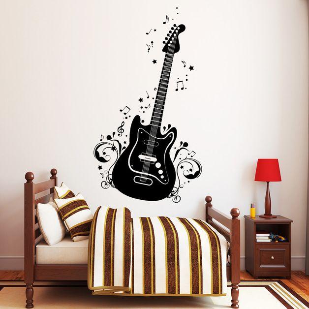 Wandtattoo Musik Gitarre Noten Instrument