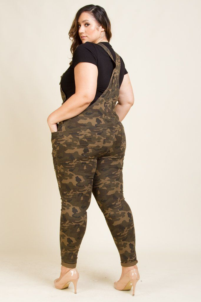 6a35a3fb33b Plus Size Distressed Camo Twill Overall