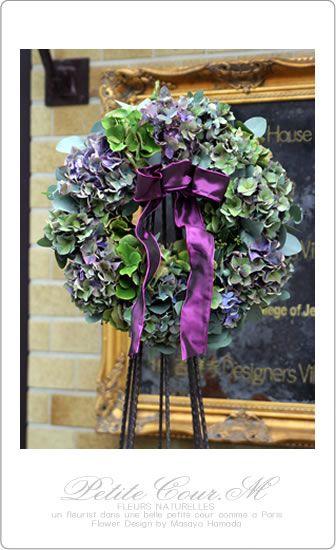 2013年季節限定のリース教室 紫陽花のフレッシュリース