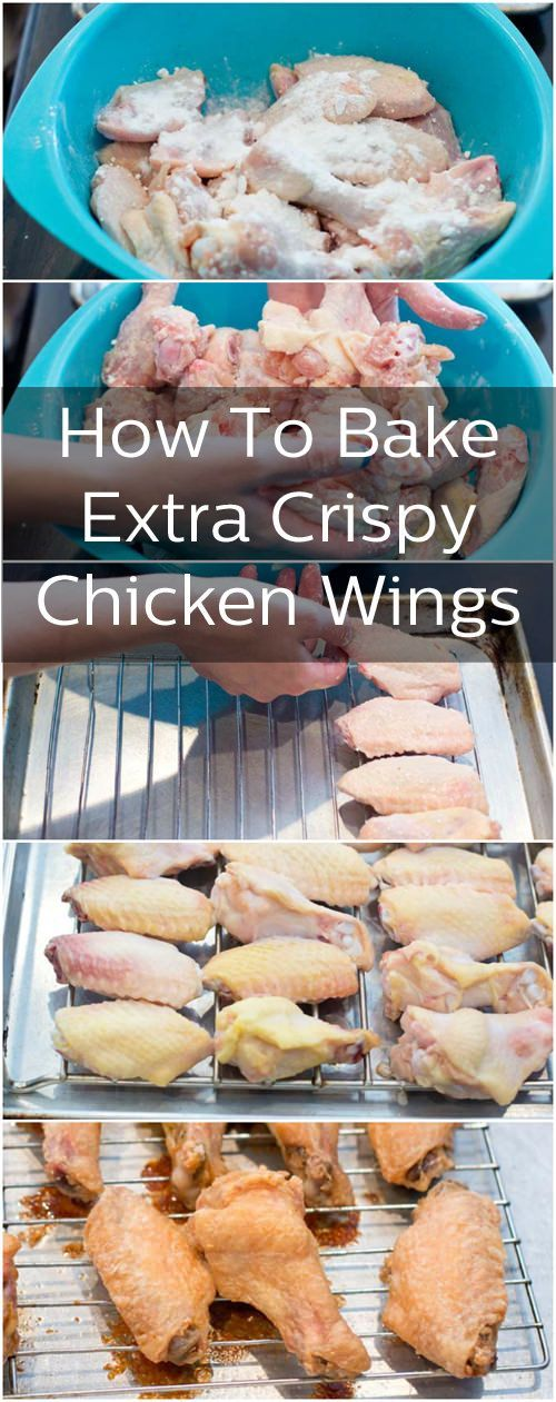 Crispy baked chicken wings I couldn't believe how amazing these were...I made them several nights in a row! Crispy and tender and healthy (no frying!!) I tossed in lemon juice and salt and pepper -Melissa