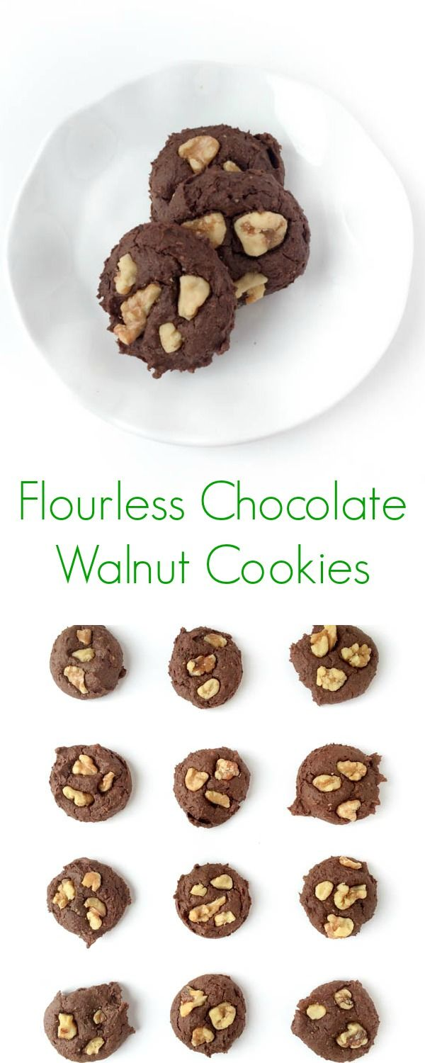 These chewy and delicious flourless chocolate walnut cookies are ...