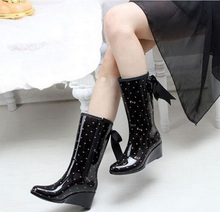 Womens Rain Boots Rubber Ladies Wellies Mid-Calf Boot Fashion Shoes 4 Style