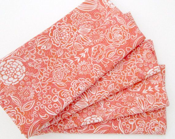 Large Cloth Napkins  Set of 4  Red-Orange Pink by ClearSkyHome