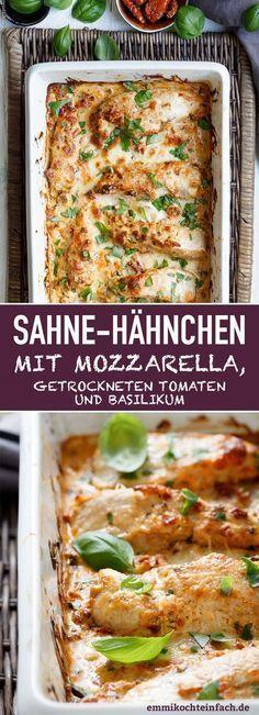 Sahne-Hähnchen mit Mozzarella, getrockneten Tomaten und Basilikum