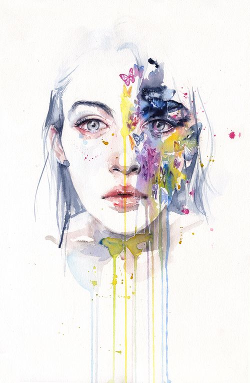 art, butterfly, colors, drawing, girl, paint, watercolor