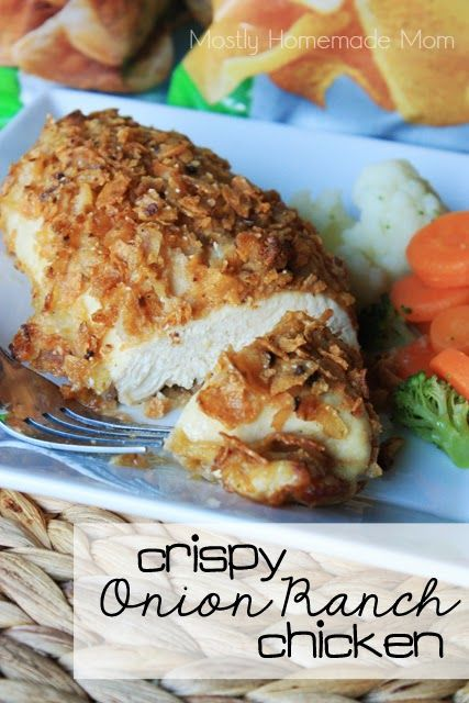 Crispy Onion Ranch Chicken - chicken coated in french fried onions and crushed ranch veggie chips - a total kid and husband pleaser! #GiantFlavor