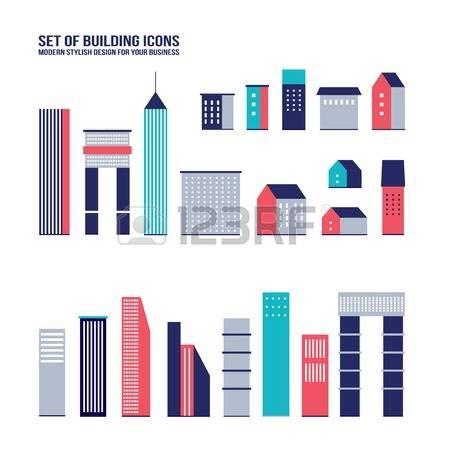 Grattacielo icona set costruzione Citt� elementi infographic Illustrazione vettoriale, parte 2 photo