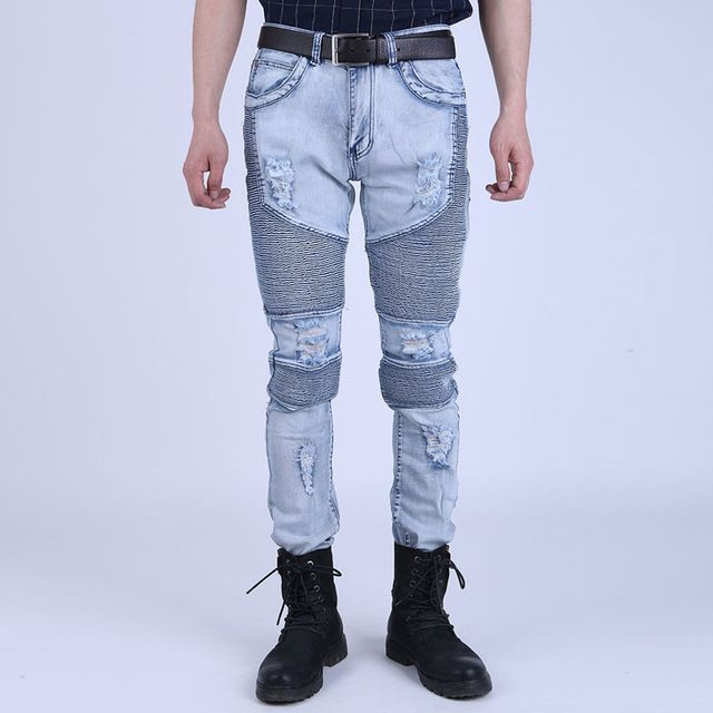 Check current price Runway Mens Super Skinny Slim Fit Motorcycle Jean Joggers Washed Vintage Ripped Hip Hop Elastic Denim Pants Biker Jeans For Men just only $23.00 with free shipping worldwide  #jeansformen Plese click on picture to see our special price for you
