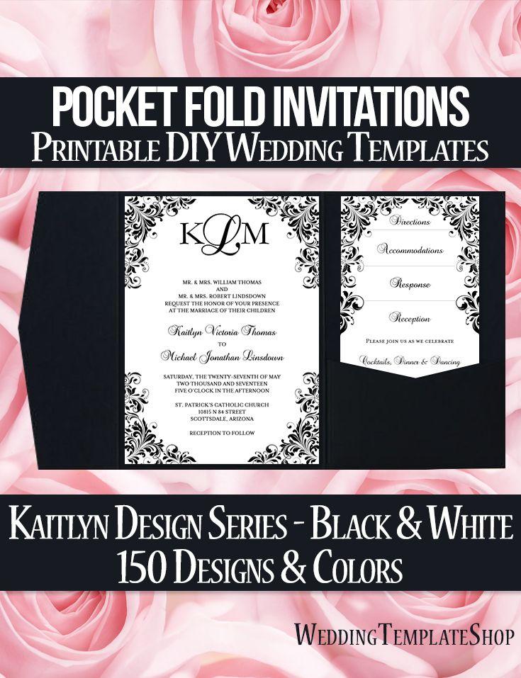 The 117 best Pocketfold Wedding Invitations, DIY Printable Templates ...