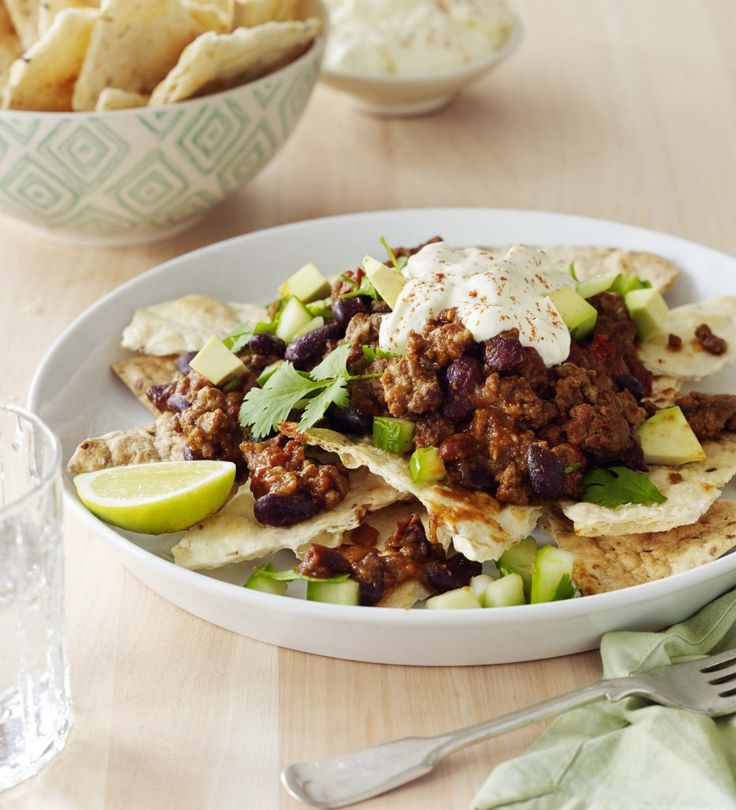 Healthy beef nachos with avocado salsa