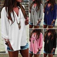Wish   ZANZEA Womens V Neck Tops Loose Baggy Casual Chiffon T Shirt Blouse Plus Size