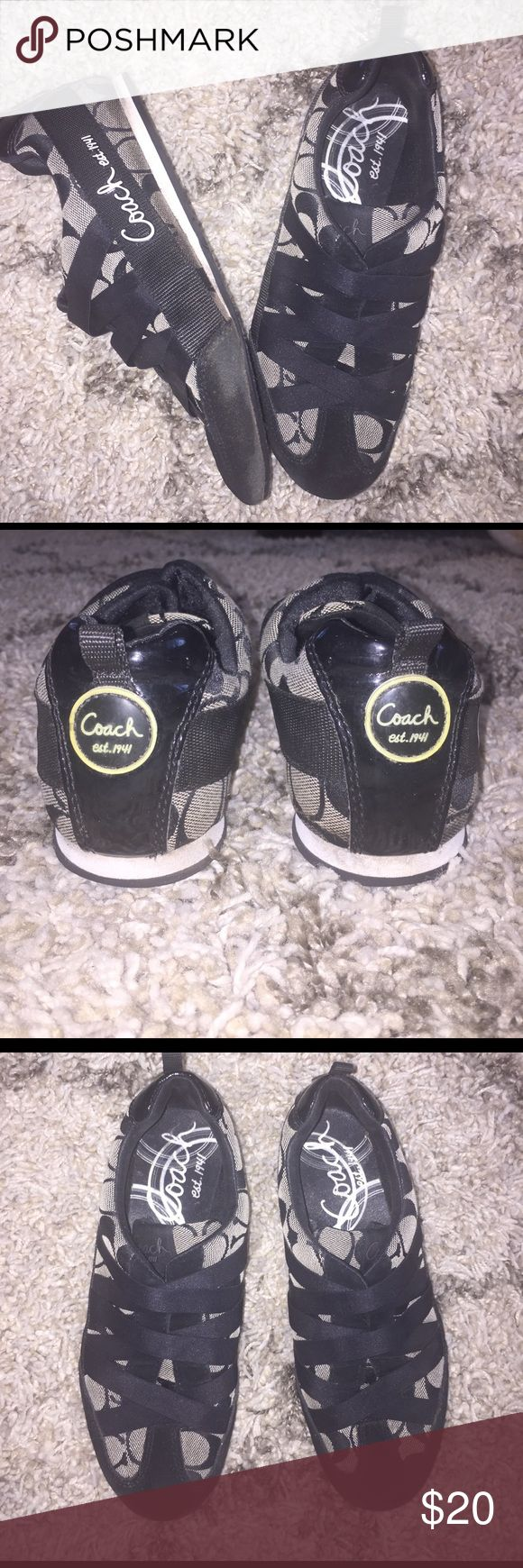 Coach tennis shoes Black Coach tennis shoes size 6.5. Only worn a few times. They are in good condition. Coach Shoes Sneakers