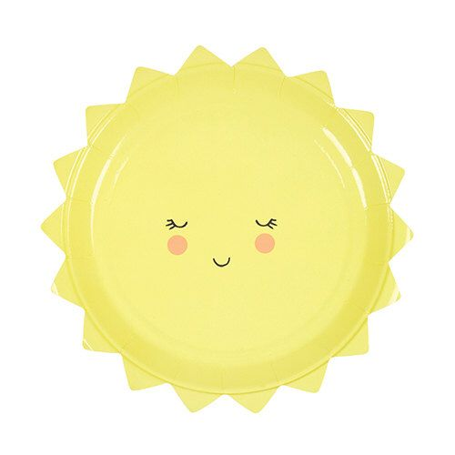 Sun Shaped Party Plates, Paper & Party Supplies, Sun, Yellow Partyware, You are my Sunshine, Baby Shower, First Birthday, Camp Themed Party by WittyBash on Etsy https://www.etsy.com/listing/493204042/sun-shaped-party-plates-paper-party