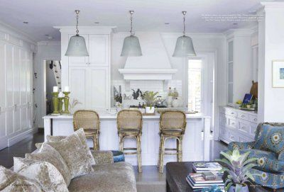 Cabinetry, range hood, marble, pendant lights, layout