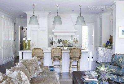 Cabinetry, range hood, marble, pendant lights, layout
