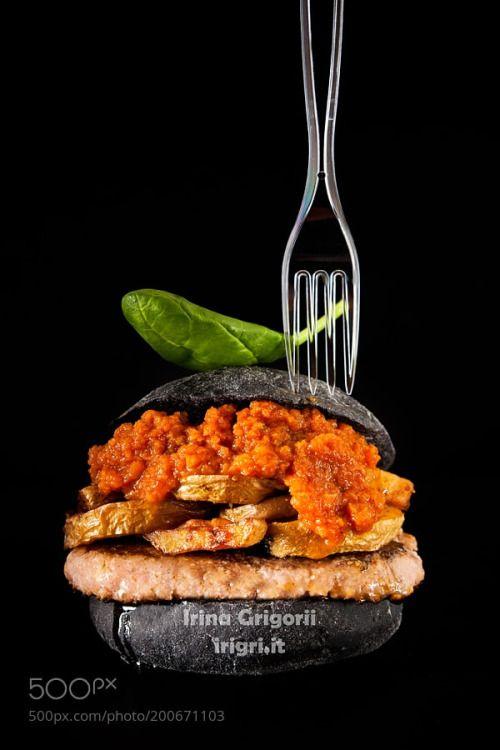 italian Black Burger with sausages Salamella  potato and vegeta by irinagrigorii  IFTTT 500px