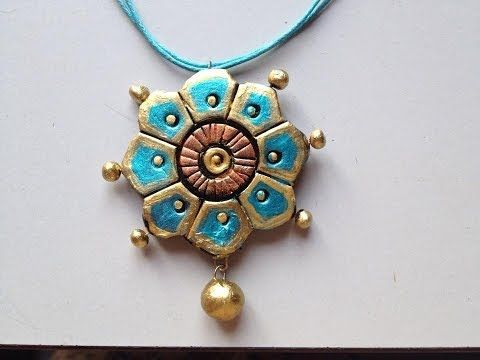 TERRACOTTA JEWELLERY : HOW TO PAINT A FLOWER PENDANT - YouTube