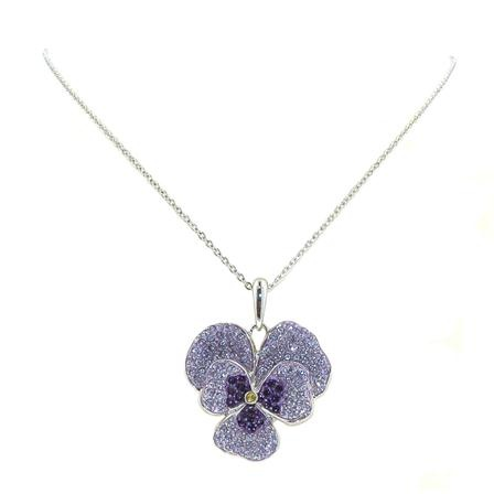 Oliver Pearce Amethyst Large Pansy Pendant Necklace