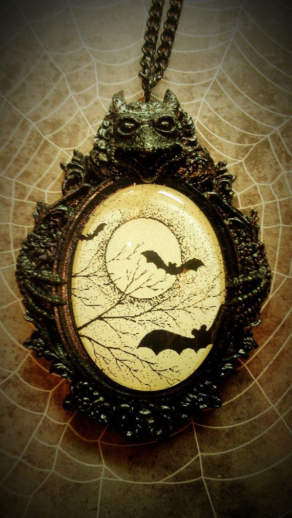 Bats in a cool Gargoyle setting Necklace by VOODOODOLLIES on Etsy, $25.00