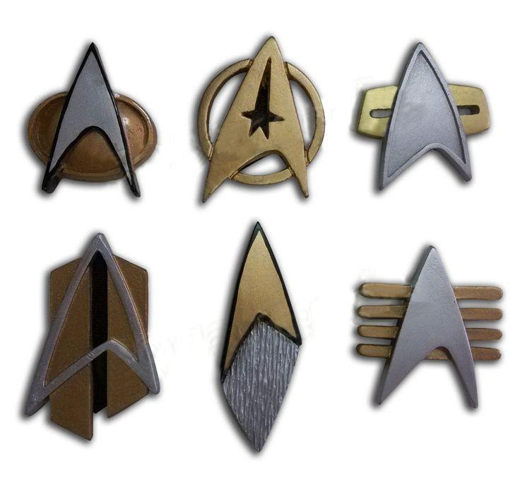 Star Trek COSplay Starfleet Captain Badge Combadge Rank Pip Pin Insignia Brooch #Affiliate