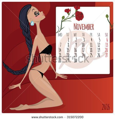 2016 new year. Calendar grid, the page for a month November. Astrological sign of the zodiac Scorpio. Horoscope a calendar.