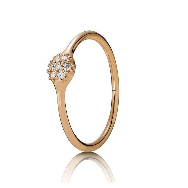 LovePods Pavé Ring i Rött Guld med Diamanter, Pandora