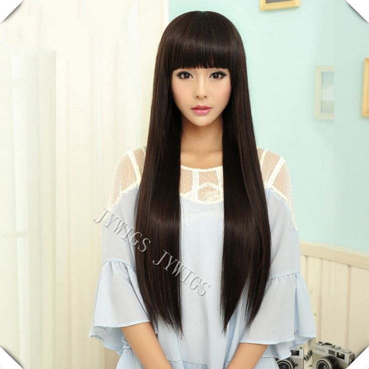 28 Inch Sexy Lady Long Straight Women Wig Cosplay Synthetic Fast Shipping Cute Fringe U Part