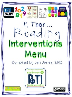 "RTI: ""If, Then"" Reading Interventions Menu If your student struggles with this... then try this list! Very resourceful"