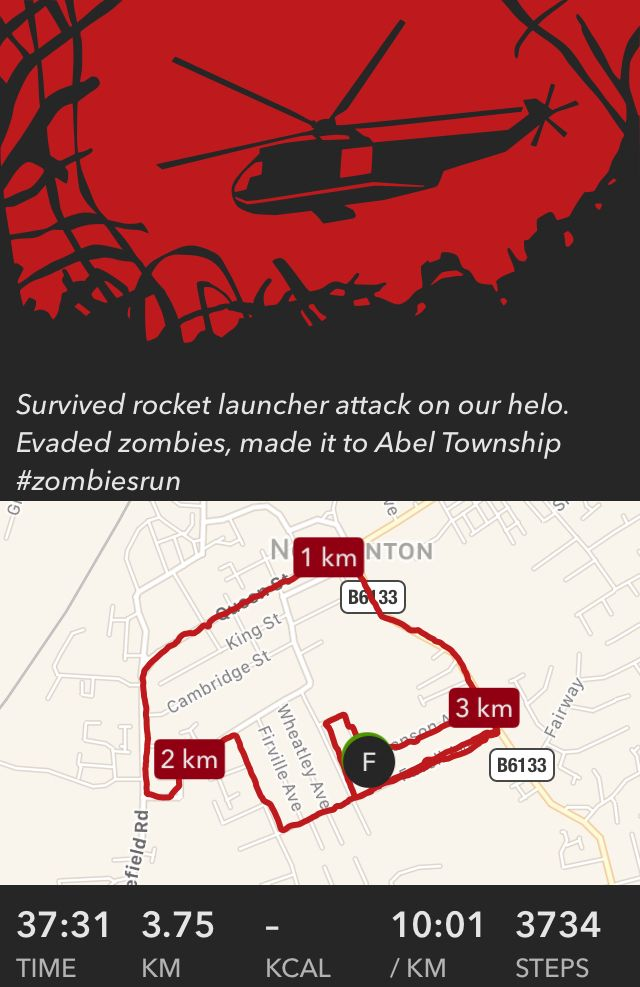 Survived rocket launcher attack on our helo. Evaded zombies, made it to Abel Township #zombiesrun