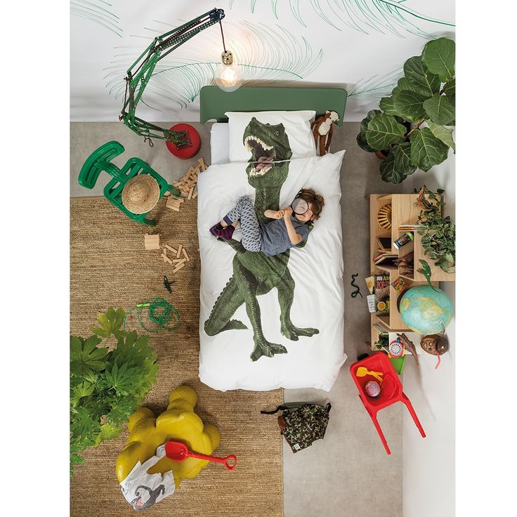Quirky Bed Linen Part - 26: SNURK Childrens Dinosaur Duvet Bedding Set | A Unique Kids Bed Linen Set  With Quirky Photographic