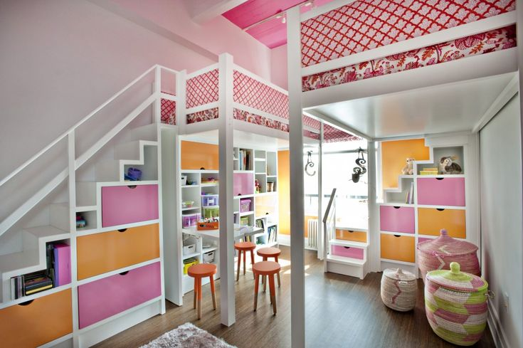 #Lofted #beds are perfect for a #shared girls #room. #pink #orange